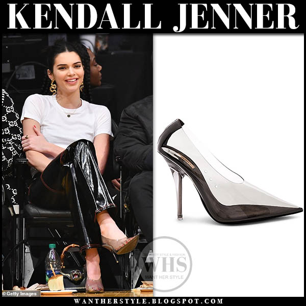Kendall Jenner in white tee, clear PVC pumps with gold snake earrings natia x lako model casual style january 29