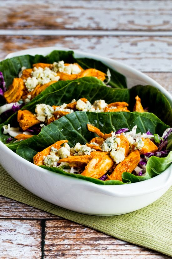 Slow Cooker Buffalo Chicken Low-Carb Collards Wraps with Blue Cheese Coleslaw found on KalynsKitchen.com