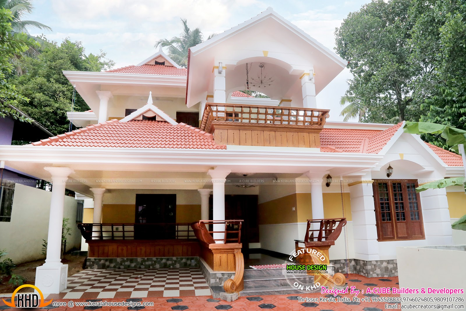 Beautiful work finished house in kerala kerala home for Two floor house plans in kerala