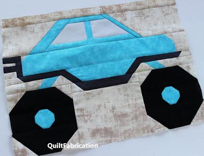aqua monster truck quilt block