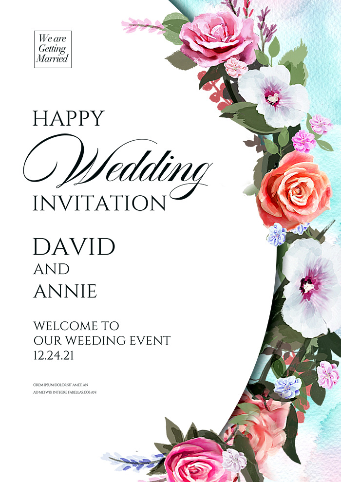 Fashionable Minimalist Creative Cartoon Flower Wedding Invitation