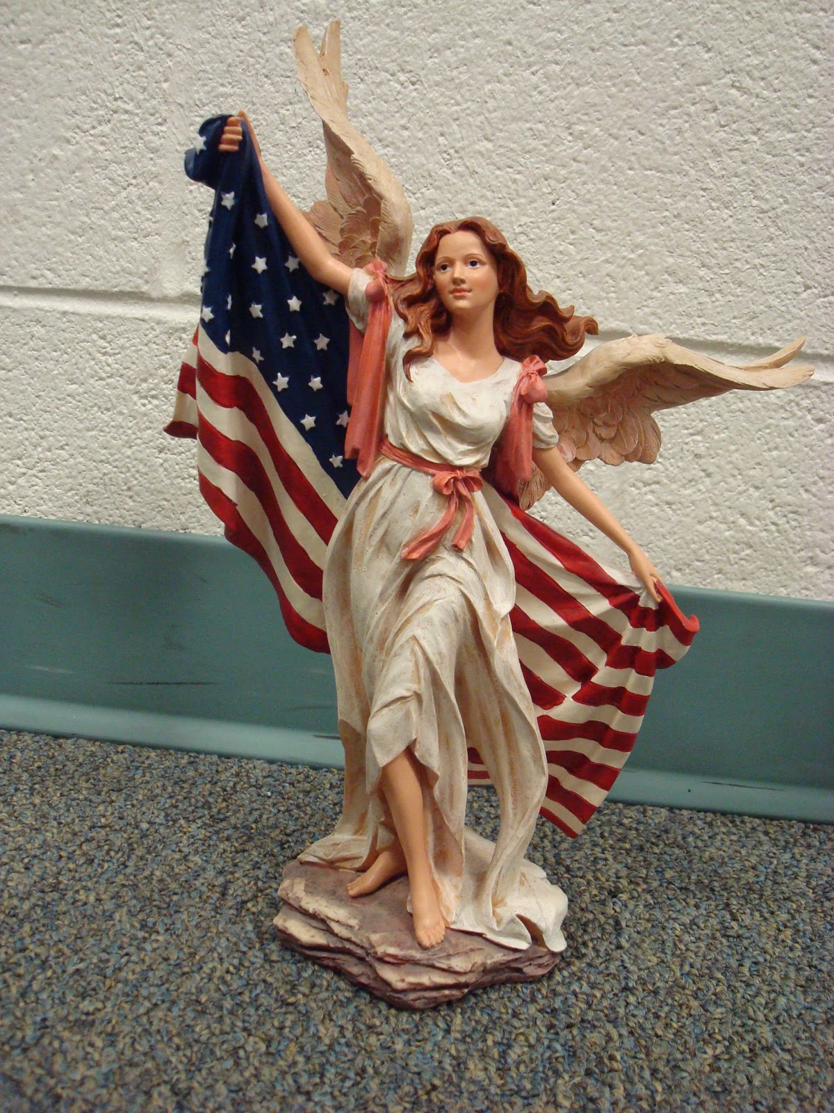I C Church Auction 2011 Angel Statue W American Flag