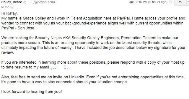 job offer from paypal