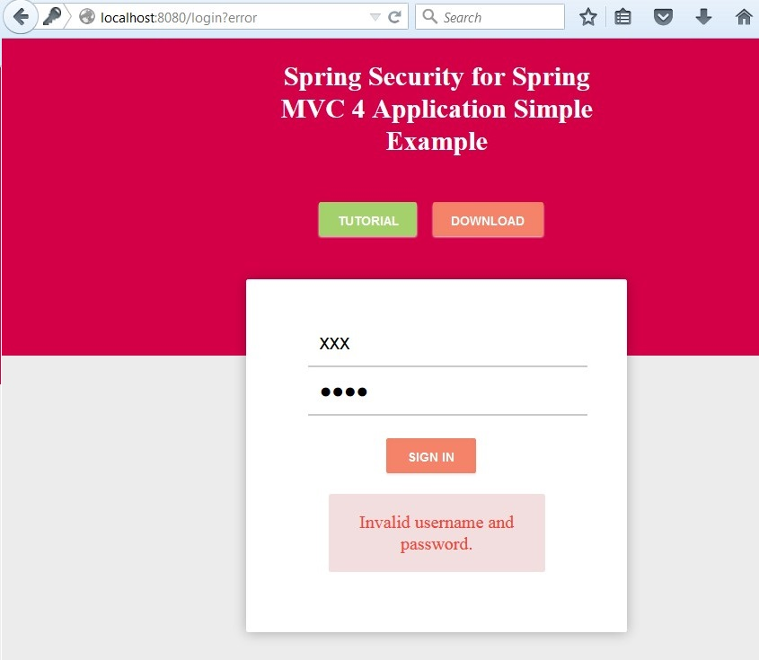 Spring Security for Spring MVC 4 Application Simple Example using