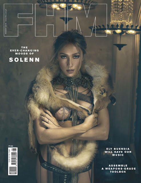 Solenn Heussaff in bikini fur coat