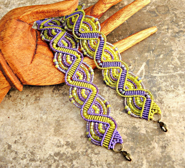 Micro macrame bracelets in lime and amethyst by Sherri Stokey.
