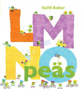 "Book cover for LMNO Peas by Keith Baker with large letters LMNO and word peas with tiny ""pea persons"" surrounding letters"