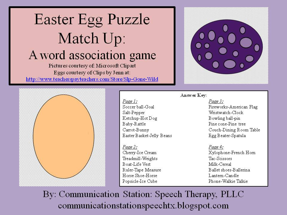 FREEBIE Friday Easter Egg Puzzles Word Association Game