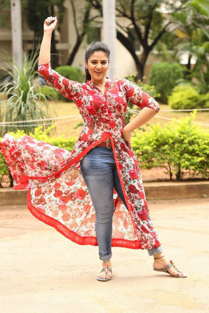 Sreemukhi In Red Dress