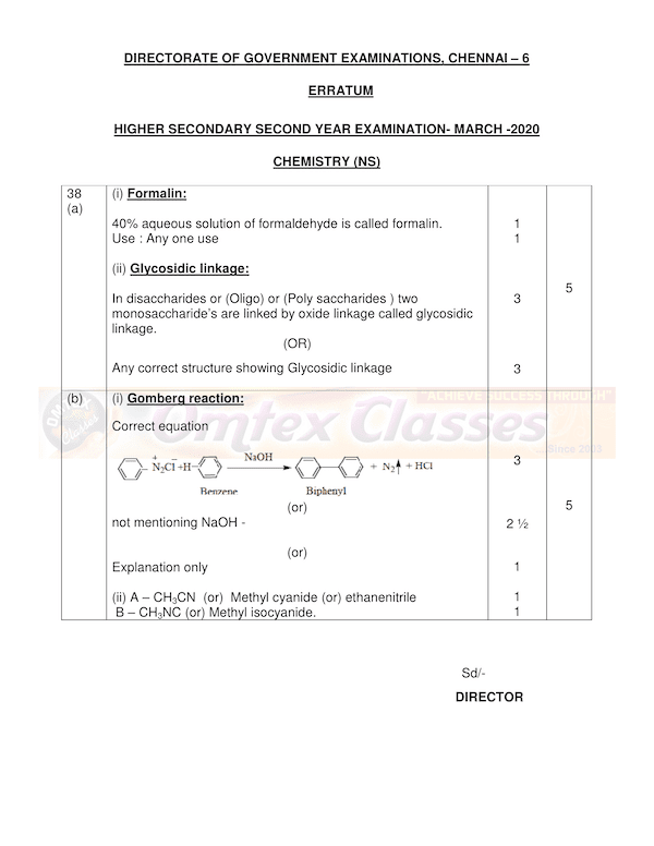 12th Chemistry  - Official Answer Keys for Public Exam 2020 - EnglishMedium Answer Key Download