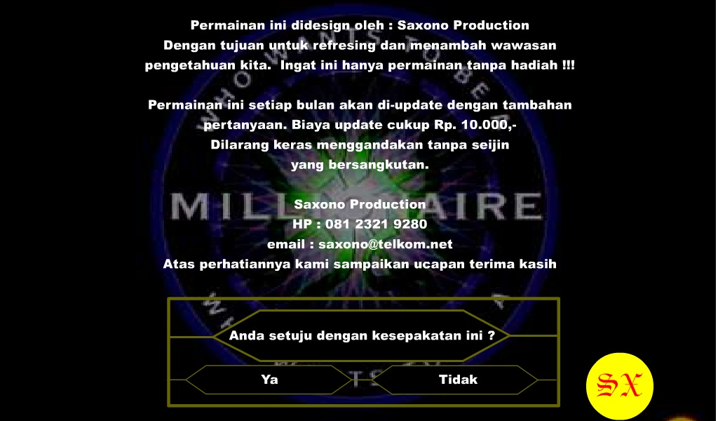 Game who want to be a millionare permainan kuis milioner.
