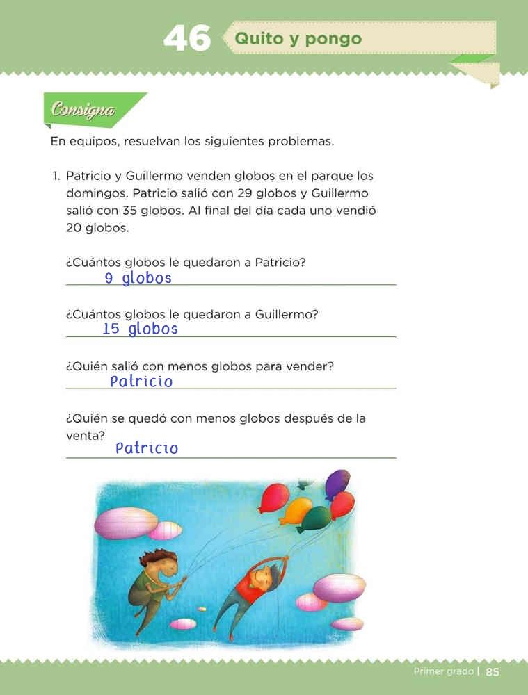 Libro de textoDesafíos MatemáticosQuito y pongoPrimer gradoContestado