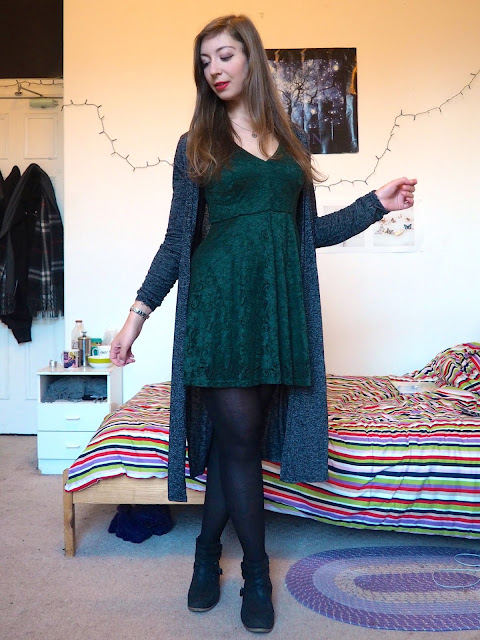 Birthday Party | Night out outfit of dark green lace dress, with grey cardigan, black ankle boots and tights