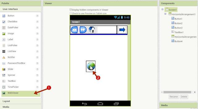 web view add करें जिस पर internet pages open हो सकेंगें