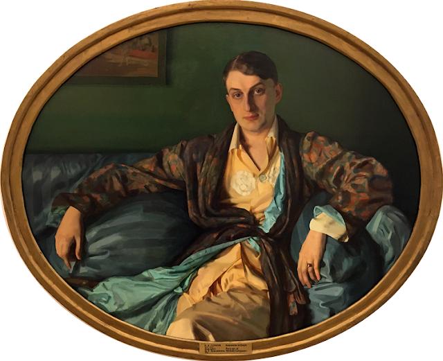 Portrait of Mefody Lukjanov (1918)  Konstantin Somov (Russian, 1869-1939)  Oil on canvas  Russian Museum, St. Petersburg    Mefody Lukjanov was the artists lover from 1910-1932.