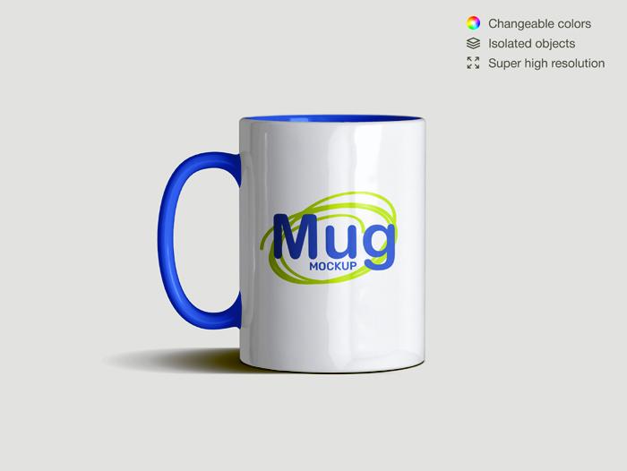 Realistic Front View Classic Ceramic Mug Mockup Template