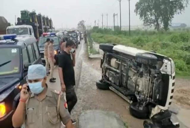 कानपुर में STF की गाड़ी के एक्सीडेंट के बाद ,अपराधी विकास दुबे एनकाउंटर में ढेर