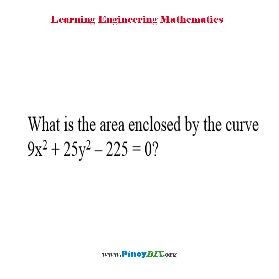 What is the area enclosed by the curve 9x^2 + 25y^2 – 225 = 0?