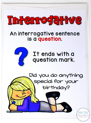 Have your students sort the 27 sentence strips into declarative, interrogative, imperative, and exclamatory envelopes. This FREE lesson can be used with small groups or the entire class. It includes the posters, sentences strips, and more!