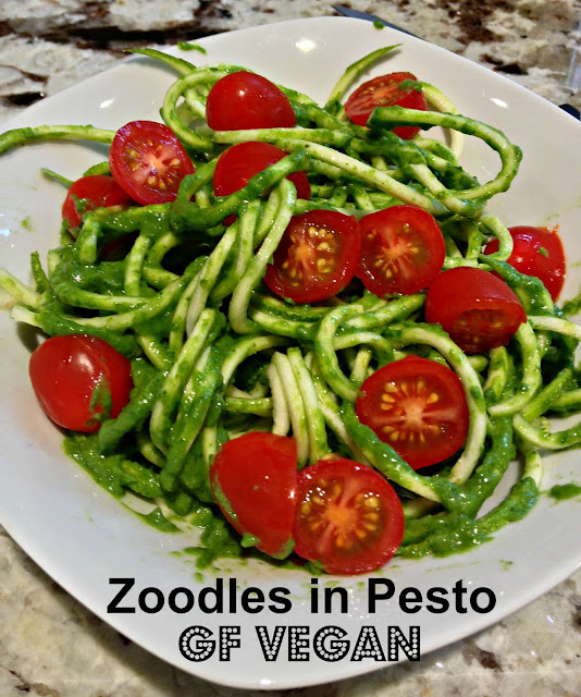 zoodles in a avocado pesto sauce