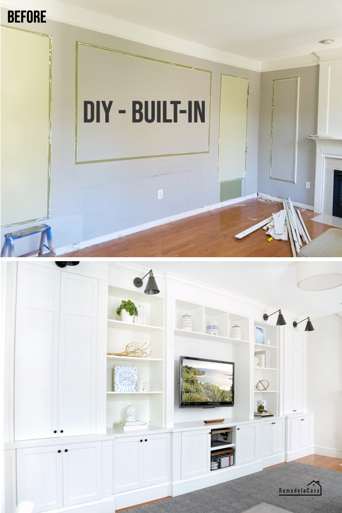family room with white entertainment center, tv and shelves