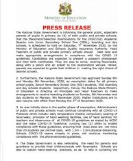 kaduna state schools resumption