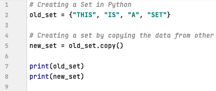 Creating a set by copying data from the other set