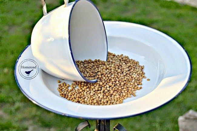 Enamelware Tea Cup Bird Feeder