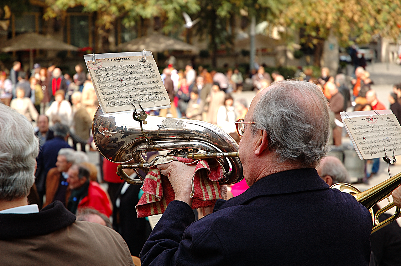Sardana Player Blowing the Horn in Barri Gotic, Barcelona