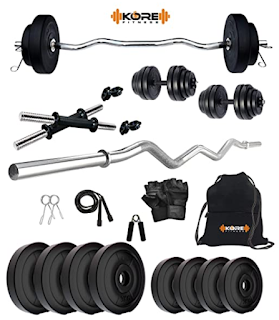 Kore PVC Home Gym Set with One 3 Ft Curl and One Pair Dumbbell Rods with Gym Accessories (20 kg)