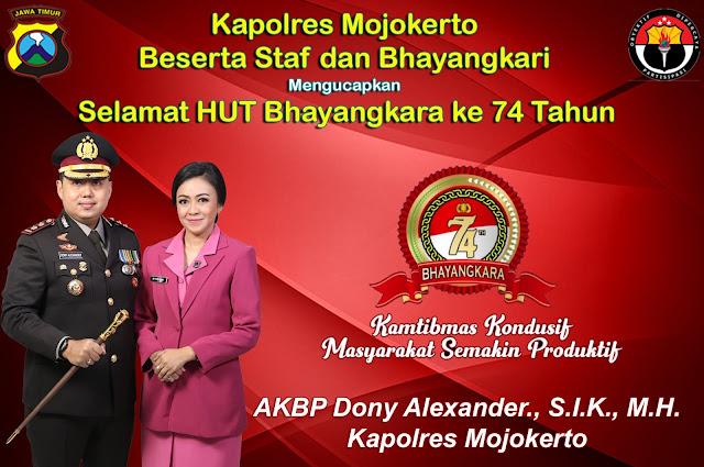 Iklan Kapolres Mojokerto mengucapkan Selamat HUT Bhayangkara ke 74 Tahun