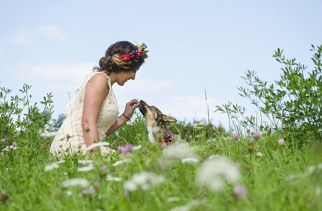 woman with flower crown giving dog treats in meadow