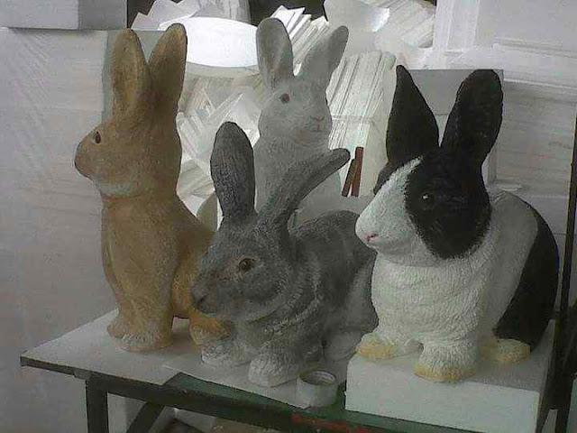 Replika 3 D Rabbit / kelinci dekorasi styrofoam untuk acara Paskah ( Easter )