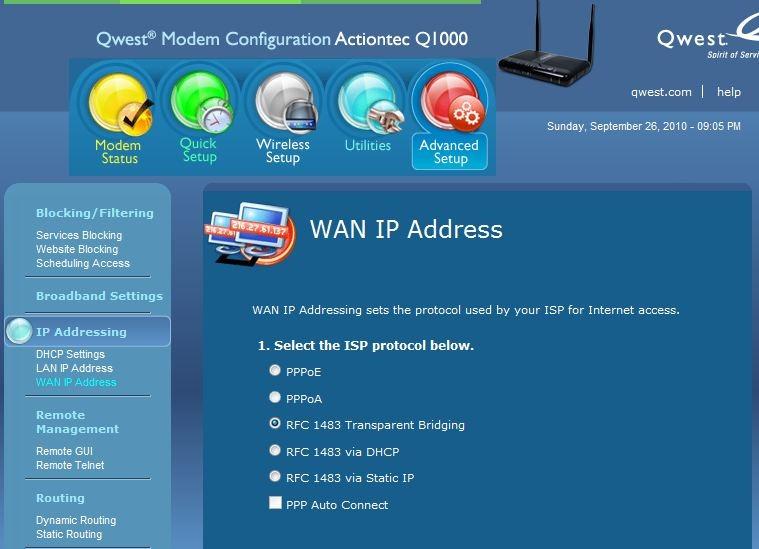 Actiontec q1000 password