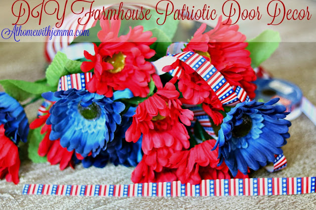 Red, White and Blue Door Decor Using flowers, galvanized bucket, ribbon and patriotic embellishments At Home With Jemma