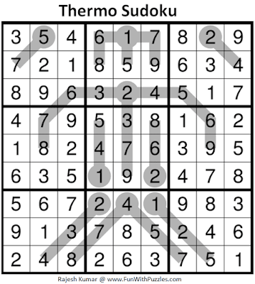 Answer of Thermometer Sudoku Puzzle (Fun With Sudoku #379)