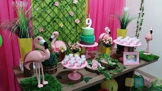 Decoração festa infantil Flamingos Porto Alegre