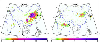 Two Maps Compare Total Annual Sulfur Dioxide Amounts for India and China (Credit: Chris Mclinden, Environment and Climate Change Canada) Click to Enlarge.