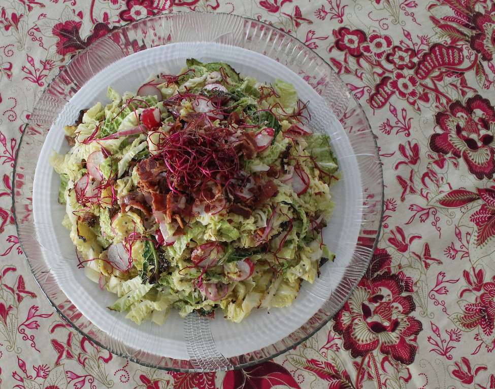 Food Lust People Love Roasted Savoy Cabbage Slaw With Spicy Bacon Dressing Sundaysupper