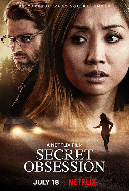 Movie poster for Netflix's 2019 dramatic thriller Secret Obsession, starring Brenda Song, Mike Vogel, and Dennis Haysbert