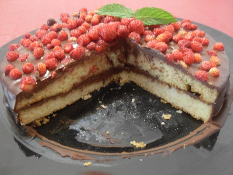 Bizcocho de chocolate y fresitas sin lactosa