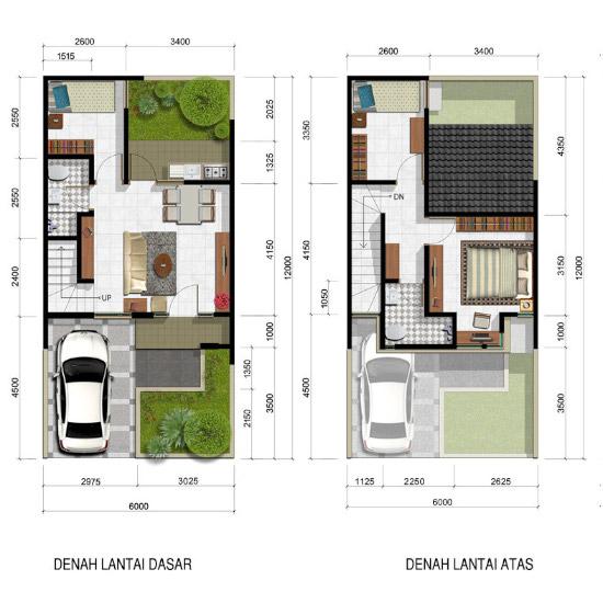 Denah rumah luas 70 m2 2 lantai 3 kamar tidur