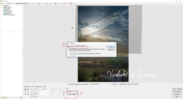 PhotoScape Anleitung und Schritt für Schritt mit Bilder-Tutorial: Button Bild+Objekte -Objekte in das Foto einbinden