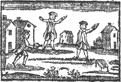 A woodcut of three men playing stool ball, from a 1767 book 'A Little Pretty Pocket-book'