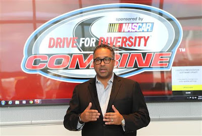 Max Seigel, CEO of Rev Racing speaks to participants of the NASCAR  Drive for Diversity Combine at NASCAR headquarters