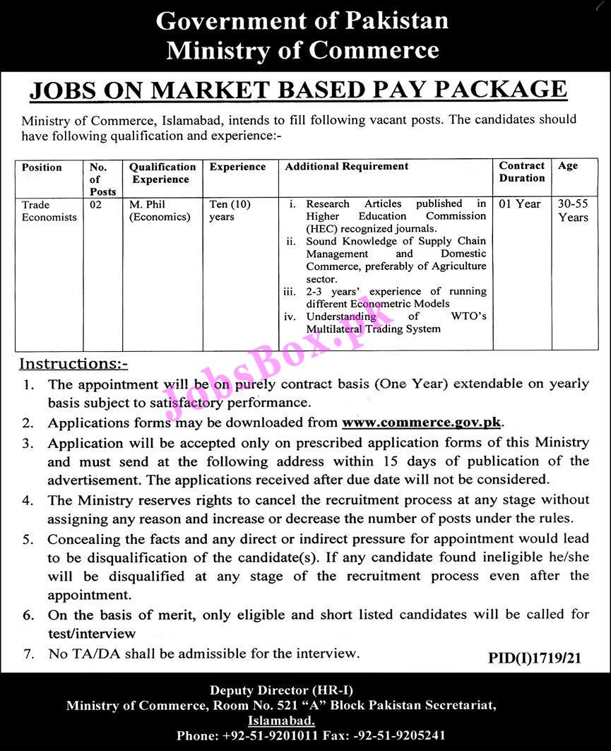 Ministry of Commerce Islamabad Jobs 2021 – www.commerce.gov.pk
