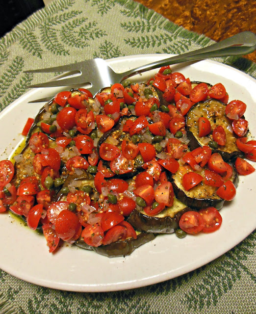 Grilled Eggplant with a Tomato Caper Vinaigrette