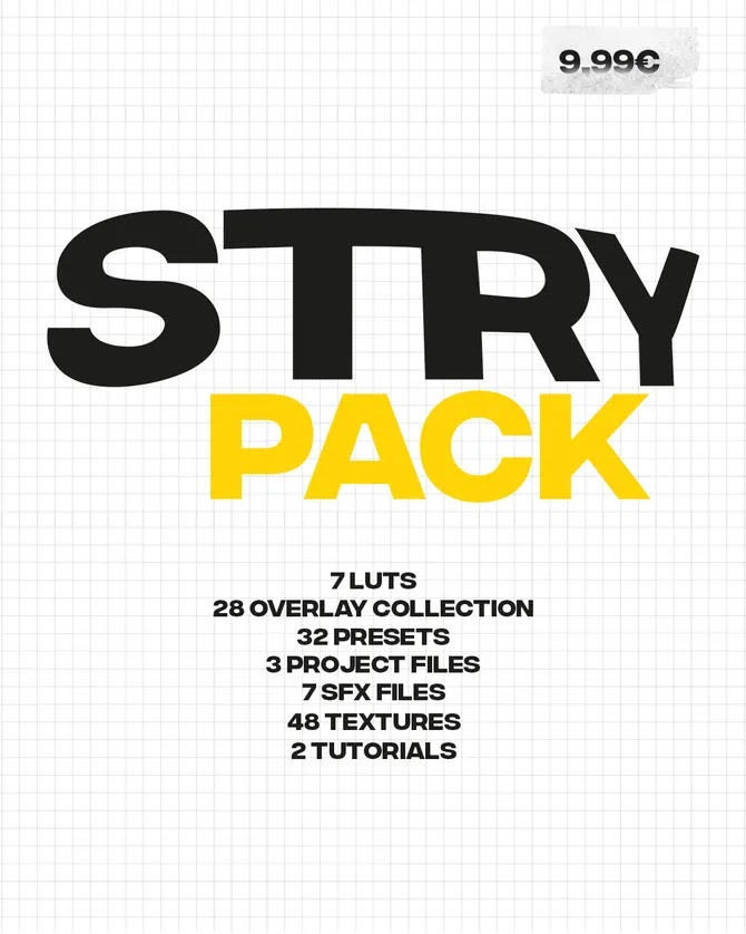 STRY EDITING PACK[LUTS][Overlays][Presets][After Effects]