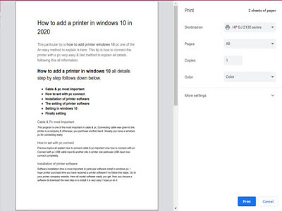 How to add a printer in windows 10 PC