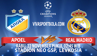Prediksi Apoel vs Real Madrid 22 November 2017
